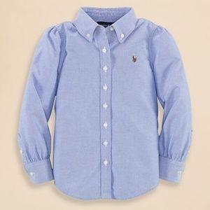 Ralph Lauren Girls Button Down Oxford Shirt denim